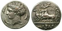 Ancient Coins - SICILY.SYRACUSE.Dionysios I 405-367 BC.' Dekadrachm' British Museum Silver plated electrotype copy by Robert Ready.