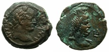 Ancient Coins - EGYPT.ALEXANDRIA.Vespasian AD 69-79.AE. Diobol, struck AD 71/72.~#~.Bust of Serapis.