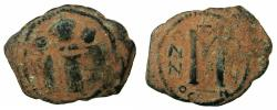 Ancient Coins - PSEUDO BYZANTINE.AE.Follis, after Heraclius ( AD 610-641 ).7th cent AD Imitation after mint of Constantinople.