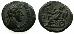 Ancient Coins - EGYPT.ALEXANDRIA.Commodus AD 176-192.Billon Tetradrachm, struck AD 181/82.~#~.Athena enthroned holding Nike.