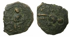 World Coins - CRUSADER STATES.Principality of Antioch.Tancred AD 1104-1112.AE.Follis.3rd type.Saint Peter standing. overstrike on 2nd Type facing bust of Tancred.
