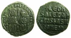 Ancient Coins - BYZANTINE EMPIRE.Leo VI The Wise with Alexander Co-Emperor AD 886-912.AE.Follis.Mint of CONSTANTINOPLE