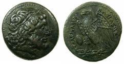 Ancient Coins - PTOLEMAIC EMPIRE.EGYPT.ALEXANDRIA.Ptolemy II Philadelphus 285-246 BC.AE. 27.7mm. Bust of Zeus.