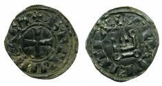 World Coins - CRUSADER.Principality of ACHAIA.Charles I or II of Anjou C.1278-1289.Bi.Denier.Type KA 201.Mint of Corinth.