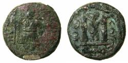 Ancient Coins - ARAB-BYZANTINE.Anonymous.7th cent AD.AE.Fals .Damascus mint. 'Jaza hadha'type. Imperial figure wearing short belted garment.