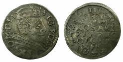 World Coins - POLAND.Sigismund III Vasa King of Poland and Grand Duke of Lithuania AD 1587-1636.AR.Trojak ( 3 Grosze ).1597. Mint of POSEN.