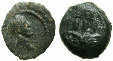 Ancient Coins - EGYPT.ALEXANDRIA.Trajan AD 98-117.anepigraphic issue.AE.Dichalkon, struck AD 109/110.~#~ Hemhem crown.