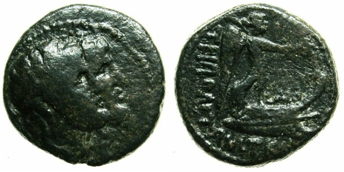 Ancient Coins - PHOENICIA.TRIPOLIS.Augustus 27BC -AD 14.AE.21.Struck AD 13/14.Dioscuri.Nike on Prow