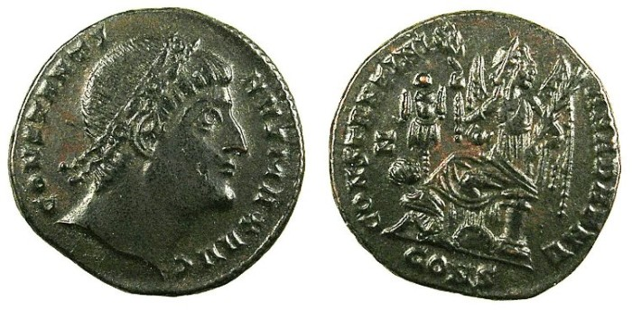 "Ancient Coins - ROMAN.Constantine I The Great AD 307-337.AE.Follis.3.07g.Officina Z.""Eyes towards heaven""."