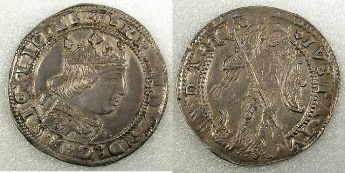 Ancient Coins - Naples Ferdinand I 1458-1494 AR Coronato