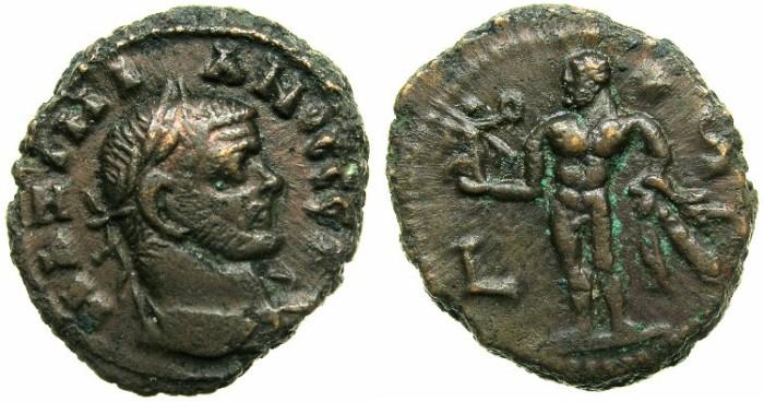Ancient Coins - EGYPT.ALEXANDRIA.Maximianus Augustus AD 286-304.Billon Tetradrachm, struck AD  290/91.~#~.Naked Herakles holding Nike in right hand.