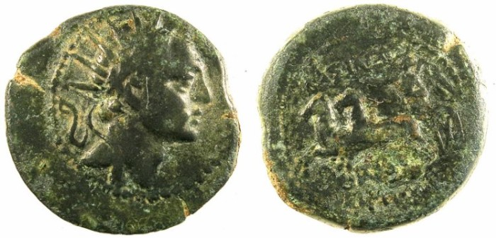 Ancient Coins - SELEUCID EMPIRE.PALESTINE.Ake-Ptolemais.Antiochus IV 175-164BC.AE.20.Radiate bust.Nike in chariote