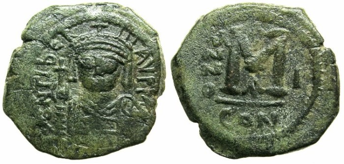Ancient Coins - BYZANTINE EMPIRE.Maurice Tiberius AD 582-602.AE.Follis.Year 1.Constantinople mint