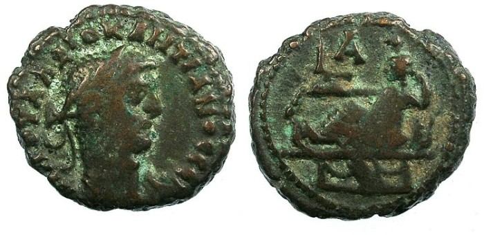 Ancient Coins - EGYPT ALEXANDRIA.Diocletian AD 284-296.Bi.Tetradrachma.Tyche reclining.