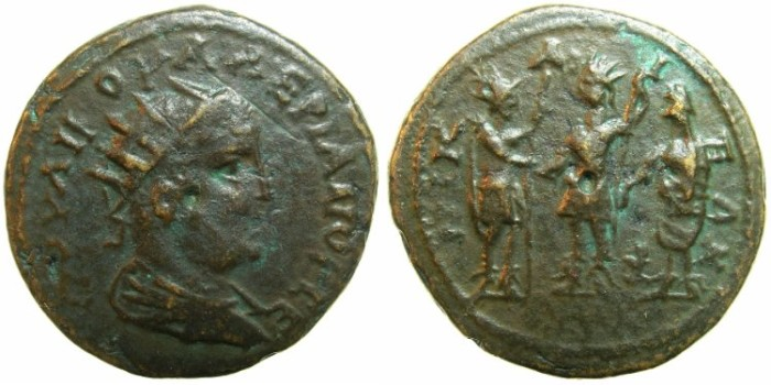 Ancient Coins - BITHYNIA.NICAEA.Valerian AD 253-260.AE.27.8mm.~#~.Gallenius, Valerian and Homonia standing.