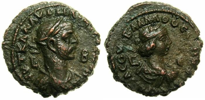 Ancient Coins - EGYPT.ALEXANDRIA.Aurelian and Vaballathus AD 270-271 .Bi.Tetradrachm.AD 270/271.
