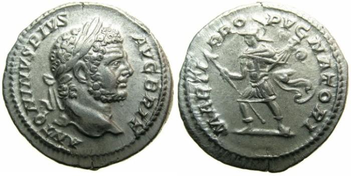 Ancient Coins - ROMAN.Caracalla Sole emperor AD 212-217.AR.Denarius, undated c.213-217.~~~AVGVSTVS BRIT~~~~MARS.