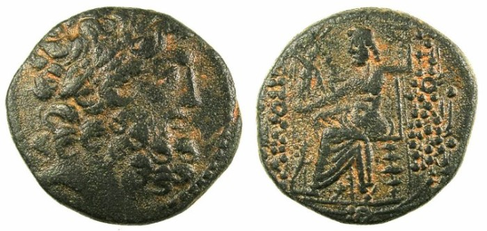 Ancient Coins - SYRIA.ANTIOCH.Struck 48/47 BC..AE.23.~~~Bust of Zeus.~#~Zeus enthroned, clear date.