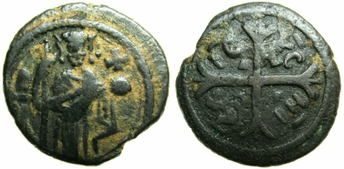 Ancient Coins - ITALY.SICILY.Roger II as count of Calabria and Sicily, Duke of Apulia AD 1127-1130..AE.Follaro.
