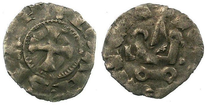 Ancient Coins - CRUSADER.Principality of ACHAIA.Jean of Anjou-Gravina 1318-1333.Bi.Denier.Type B.L-dot either side of Chatel