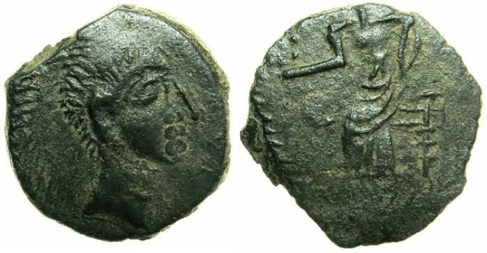 Ancient Coins - SPAIN.BAETICA.IRIPPO.Augustus (?) 27 BC - AD 14.AE.20.8mm.~#~Bust of Augustus (?).~#~.Female seated left.