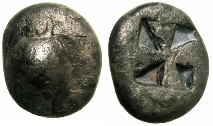 Ancient Coins - ATTICA.Island of AEGINA.Circa 550-500 BC.AR.Drachma. ****RARE DENOMINATION ****