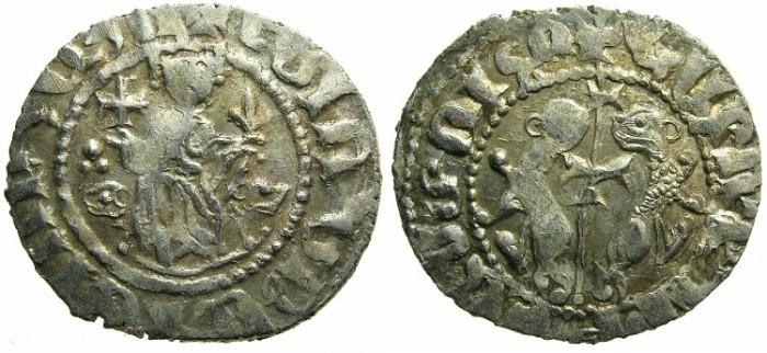 Ancient Coins - CILICIAN ARMENIA.Levon I The Great AD 1199-1219.AR.Tram. ~~~Sigla three dots left field,single dot right field - HAYOTS E inscription.