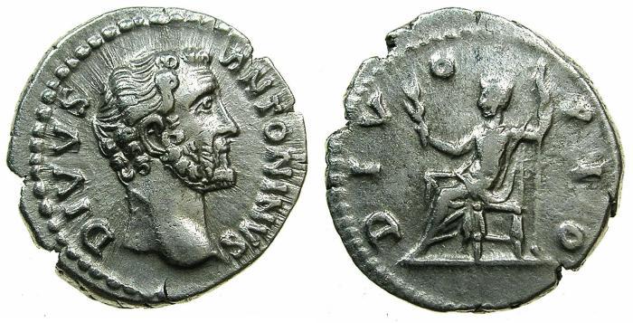 Ancient Coins - ROME.Divus Pius, died AD 161.AR.Denarius struck circa AD 161 by Marcus Aurelius.
