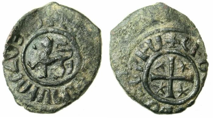 Ancient Coins - ARMENIA.Levon II AD 1270-1289.AE.Kardez.struck at SIS.Lion left / Cross.