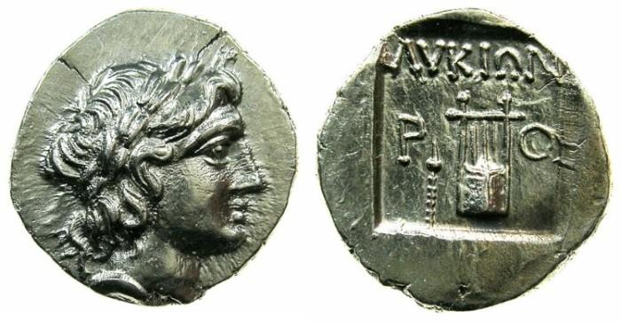 Ancient Coins - LYCIAN LEAGUE.Circa 167-100 BC.AR.Drachma.Mint of RHODIAPOLIS. ****RARE mint ****