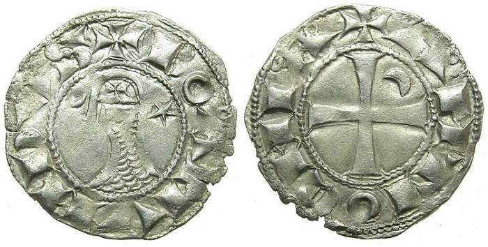 Ancient Coins - CRUSADER. Antioch. Bohemond III or IV c.1149-1233 Bi.Denier. Class C