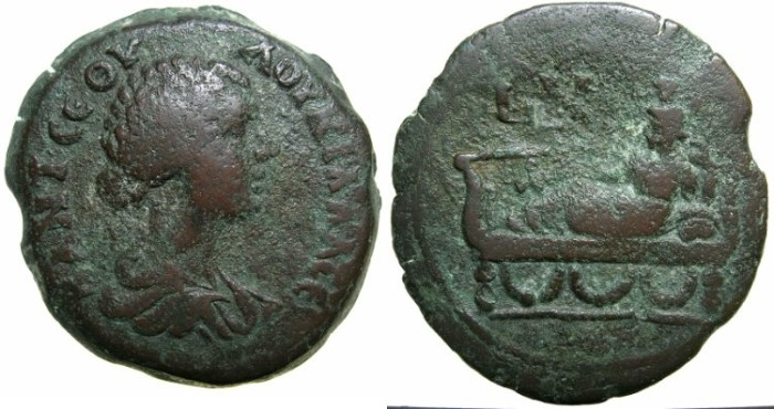 Ancient Coins - EGYPT.ALEXANDRIA.Lucilla, wife of Lucius Verus AD 161-169.AE.Drachma.Struck AD 167/68.~#~Tyche recumbent on couch****Very rare issue for ALEXANDRIA, EGYPT.