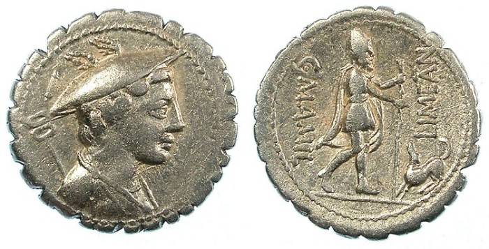 Ancient Coins - ROME.REPUBLIC.C.Manilius Limetanus 82 BC.AR.Denarius Serratus.Ulysses with his dog Argus
