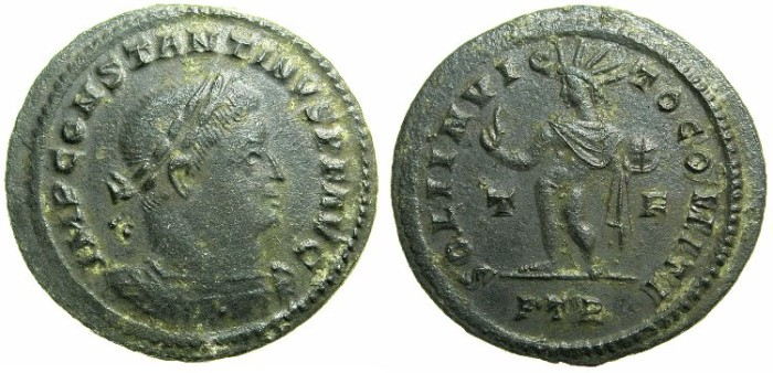 Ancient Coins - ROMAN.Saint Constantine I The Great AD 307-337.AE.Follis.Mint of TRIER.~#~ SOL standing radiate.