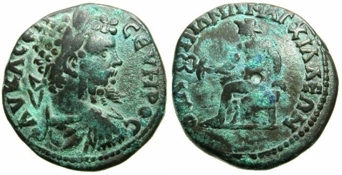 Ancient Coins - THRACE.ANCHIALUS.Septimius Severus AD 193-211 AE.27.8mm.~#~.Hermes seated on rocks.