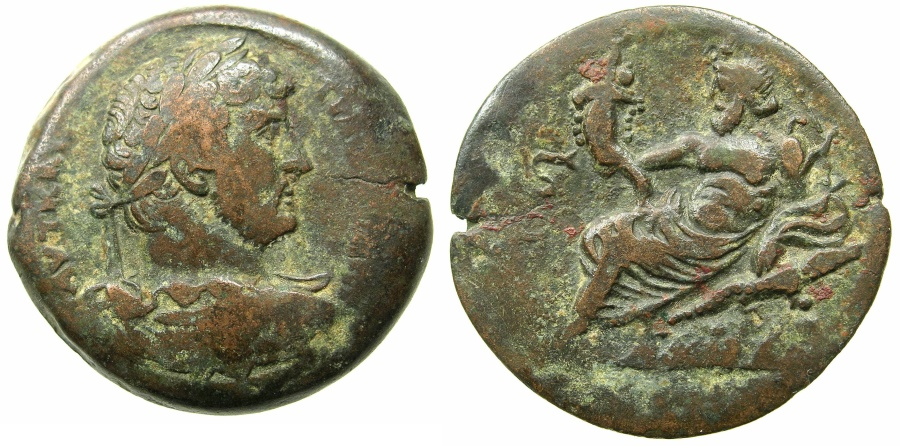 Ancient Coins - EGYPT.ALEXANDRIA.Hadrian AD 117-138.AE.Drachma, struck AD 131/32.~#~.Nilus reclining on rocks, crocodile below.