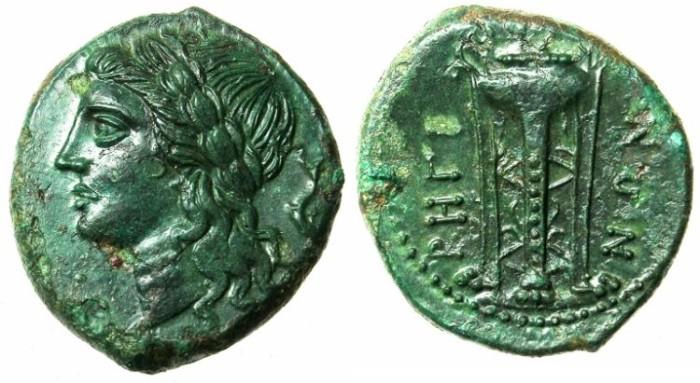 Ancient Coins - BRUTTIUM.RHEGION.Circa 270-203 BC.AE.21.Apollo Rev.Tripod