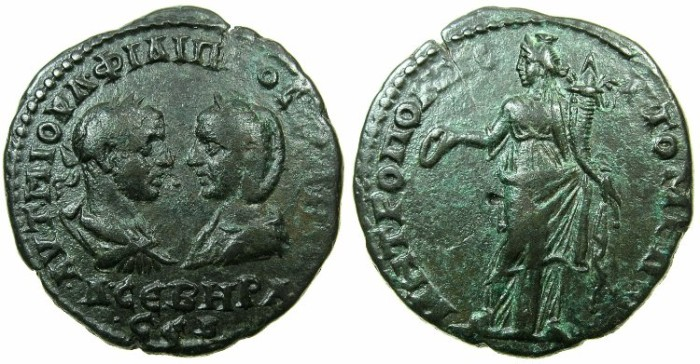 Ancient Coins - MOESIA INFERIOR.TOMIS.Philip I and Otacilia Severa AD 244-249.AE.27mm.~#~.Homomia standing.