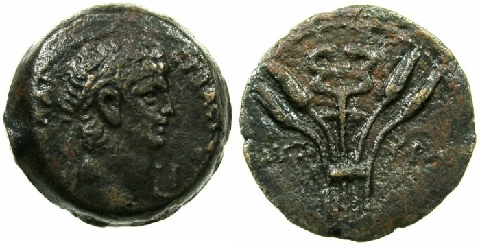 Ancient Coins - EGYPT.ALEXANDRIA.Claudius AD 41-54.AE.Diobol, struck AD 50/51.~#~.Caduceus on tripod.