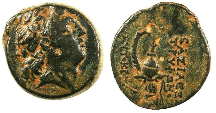 Ancient Coins - SYRIA.Seleucid Empire.Tryphon C.141-138 BC.AE.19.Bust of Tryphon.Rev.Macedonian helmet