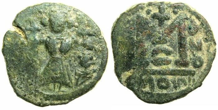 Ancient Coins - ARAB-BYZANTINE.Anonymous 7th cent AD.AE.Fals.~~~Two Imperial figures.