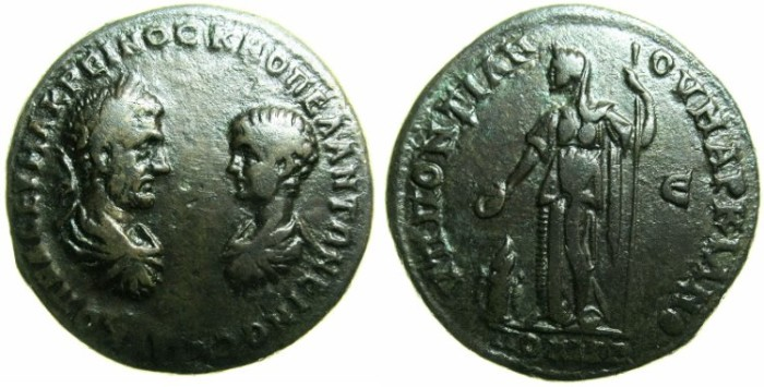 Ancient Coins - MOESIA INFERIOR.MARCIANOPOLOS.Macrinus and Diadumenian AD 217-218.AE.5 Assaria.~~~Hera standing left.
