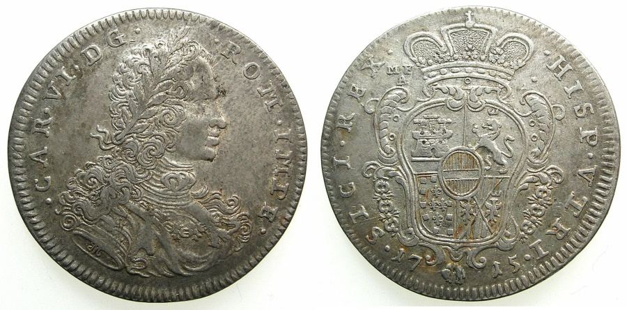 World Coins - ITALY.NAPLES.Charles VI H.R.E and King of Naples 1711-1734.AR.Mezzo Ducato ( 5 Carlini ) 1715.****RARE***