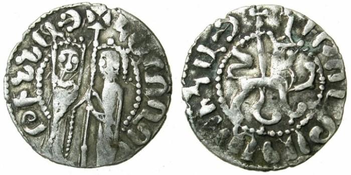Ancient Coins - ARMENIA.Hetoum I and Zabel AD 1226-1270.AR.Tram.