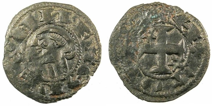 Ancient Coins - SPAIN.CASTILLE AND LEON.Alfonso I of Aragon AD 1104-1134.Bi.Denaro.Toledo mint.