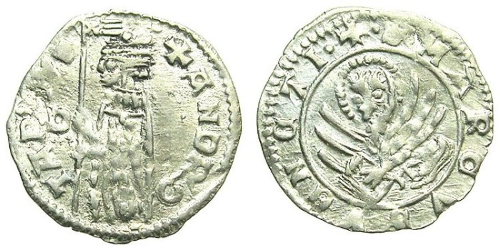 Ancient Coins - ITALY.VENICE.Andrea Contarini AD 1368-1382.AR.Soldino.2nd Type.1st.issue.Sigla D