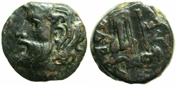 Ancient Coins - BLACK SEA.OLBIA.Circa 300-260 BC.AE.20.River god Borusthenes.Axe,Sceptre and bow case.