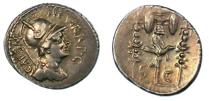 Ancient Coins - ROMAN.Octavian,( Emperor Augustus from 27 BC).AR.Denarius.Mars.