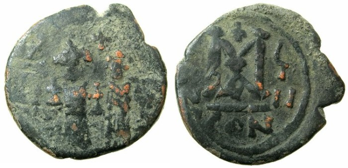 Ancient Coins - BYZANTINE EMPIRE.Heraclius AD 610-641.AE.Follis, struck AD 617/618.Mint of CONSTANTINOPLE.