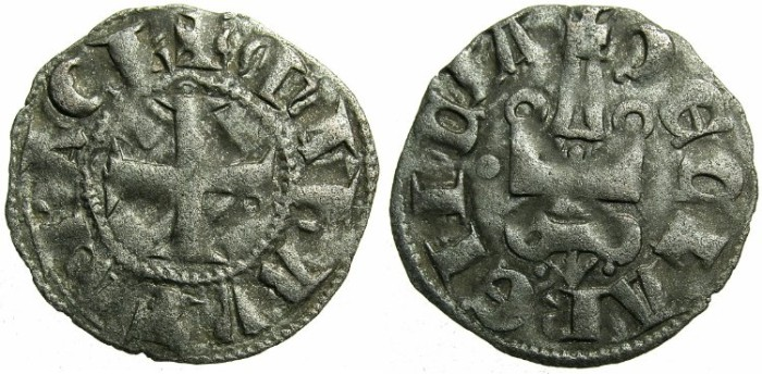 Ancient Coins - CRUSADER.Principality of ACHAIA.Mahault of Hainault AD 1316-1321.Bi.Denier.Type 1c.~~~Gothic M.